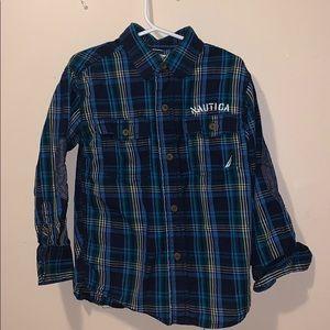 Boys size 4 button down plaid shirt by Nautica EUC